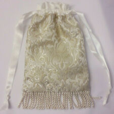 Hand Made Ivory / Cream Brocade Drawstring Evening / Wedding / Bridal Hand bag