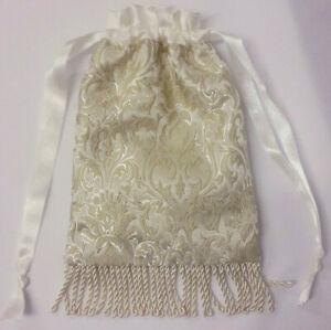 Hand Made Ivory / Cream Brocade Drawstring Evening / Wedding / Bridal Hand bag