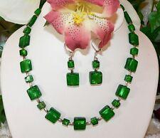 2er Schmuckset Kette Ohrrring Lampwork Silberfoil Quadrat Smaragd  grün 311r