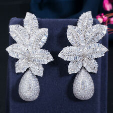 Luxury Fashion White Gold Micro Paved CZ Naija Leaf Large Flower Drop Earrings