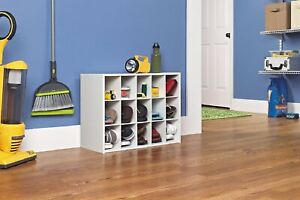 """Shoe Organizer Storage Cubby 15 Cube Cabinet Stackable White Laminate 24"""" x 19"""""""