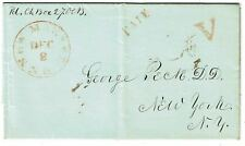 1840's New Market, NH cancel in red, PAID and V handstamps