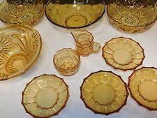 Schüssel Set Antik Glas Pressglas gelb Kompott Schalen Salat Dessert 10tlg