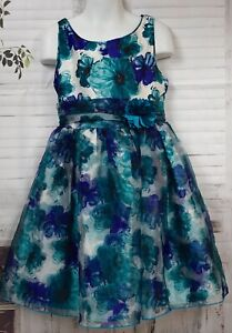 SWEET HEART ROSE Girls Organza Teal Blue White Floral  Party Dress 6X 6 Used