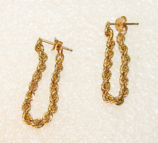 Ca. 1980 Shiny 14kt Gold Twisted Rope Chain Hoop Hang Post Earrings 0.8g