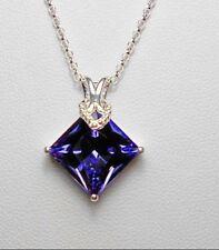 925 St Silver pendant + chain made with tanzanite Swarovski crystal 1.91g chain