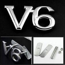 Chrome Silver V6 3D Metal V6 Racing Front Hood Grille Badge Emblem