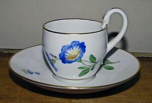 meissen demitasse cup and saucer swan handle blue flower cross swords
