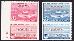 US Scott RVB1-RVB2 old $1, $3 Federal Boating stamps M/H/OG/VF CV $80