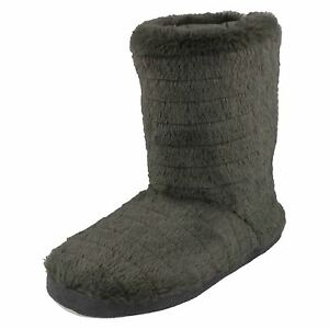LADIES SPOT ON WOMENS PULL ON WARM FLUFFY ANKLE BOOTIE INDOOR SLIPPERS X2049