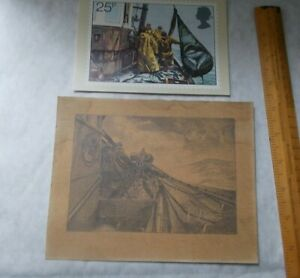 SMALL VINTAGE PICTURE ( DRAWING or PRINT ?) HAULING IN THE FISHING NETS & POSTCA