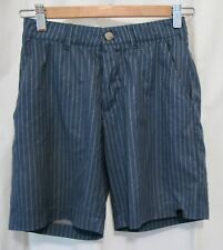 180827 Boy's S ADIDAS Blue Grey Striped Strech Poly Elastic Waist Shorts EUC