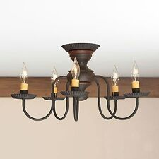 Thorndale 5 arm Ceiling Light | Primitive Flush Mount Chandelier in Espresso