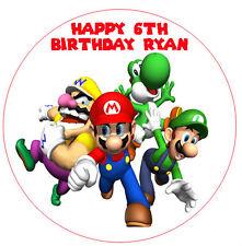 1 x Super Mario Bros 19cm round personalised cake edible image topper