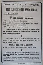 Manifesto Storico Elezioni 1953 Anticomunista Curia Piacenza Vecchia Riproduzion