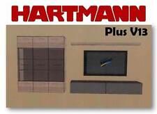 Hartmann Wohnwand Anbauwand Mod. Plus V13 Wildeiche massiv + Satinato Glas NEU
