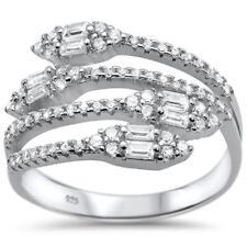 New Design Cz Emerald Cut Wraparound .925 Sterling Silver Ring