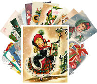 Postcards Pack [24 cards] Vintage Christmas Cute Kids Girls Carols CE5014