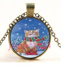 Glass Chain Pendant Necklace Ts-3399 Vintage Christmas cat Cabochon bronze