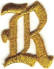 "1 1/8"" Fancy Metallic Gold Old English Alphabet Letter R Embroidered Patch"