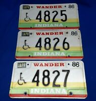 Lot Of 3) Vintage 1986 Wander Indiana License Plates Handicap Sequential Hoosier