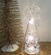 Light Up LED Glass Angel Hanging On Standing Christmas Guardian Silver Bead