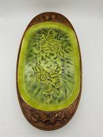 Vintage Treasure Craft Green Glaze Mid Century Serving Tray Platter USA