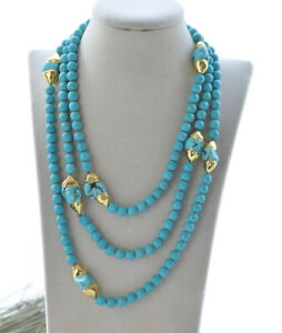"""S2509 62"""" 28mm Blue Gold-plating Baroque Turquoise Necklace CZ"""