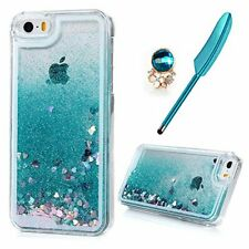 iPhone SE/ 5S/ 5 Case MAXFE.CO Clear Flexible Phone Cover Shiny Glitter Heart