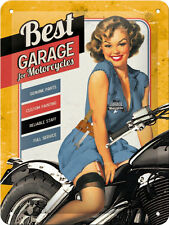 Best Garage Yellow, Motorcycles Pinup Girl Retro Small 3D Metal Embossed Sign