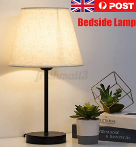 Modern Bedside Lamp Table Reading Lights Desk Light Black With Fabric Shade !