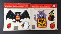 Halloween Window Decorations Classic Clings Bat Ghost Witch Pumpkin Lot of 2