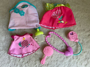 Baby Alive Doll Clothes & Accessories Lot Diaper Bag Bottle Stethoscope Brush