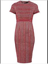 Celebrity Designer Sz 10 Wine Bonded Lace Fitted Knee Length DRESS Wedding £78