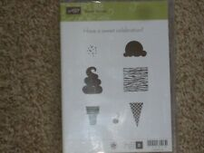 "Stampin Up Stamp Set "" Sweet Scoops "" 8pcs"