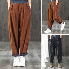 Womens Corduroy Harem Trousers Elastic Waist Casual Loose Harlan Pants Plus Size