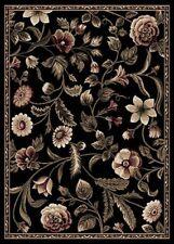 "FLORAL BLACK ORIENTAL AREA RUG 2X7 PERSIAN RUNNER 029 - ACTUAL 1' 9"" x 7' 2"""