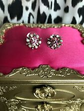 Betsey Johnson Vintage Pink & Clear Crystal AB Flower Stud Earrings VERY RARE