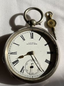 Quality open-face silver pocket watch. Waltham Watch Co Bham 1886