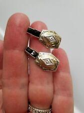 14k White Gold Diamond Art Deco Design Pierced Earrings, Custom Made
