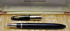 Vtg SHEAFFERS Vac-Fil Lifetime Fountain Pen Black 14K GOLD Cap Ring & Clip & Nib