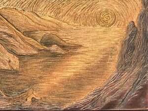 Hija del Sol Original Surreal Woman Sunset Lake Handcarved Cherry Woodblock Gold