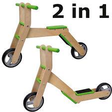 2in1 Laufrad & Roller aus Holz Scooter Bike für Kinder ab 3 Jahre 2 in 1 NEU