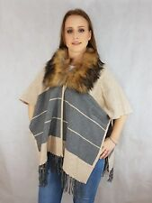 Ladies Womens Shawl Fur Collar Poncho Cover Up Knitwear S M L XL one size