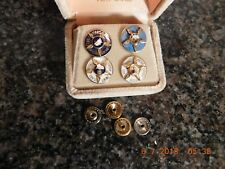 Set of 4 Hughes Airline Pins, 5-10-15-20 year Pins, With Gems, 10K Gold, 123/01