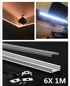 6pcs 1M Aluminium Channel for LED Strip Light with Cover PVC Profile Track