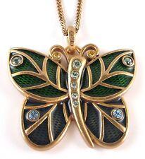 £50 Gold Green Blue Butterfly Pendant Long Necklace Swarovski Elements Crystal