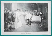DON QUIXOTE Sword Attended by Ladies in Duchess House - VICTORIAN Era Print