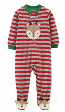Carters Christmas Baby Outfit Footed Sleeper Reindeer 6mo Red Grey Striped NWT