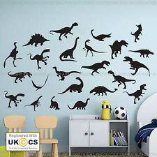 Dinosaur Wall Stickers & Decals x24 Assorted Vinyl Art Kids Bedroom Removable